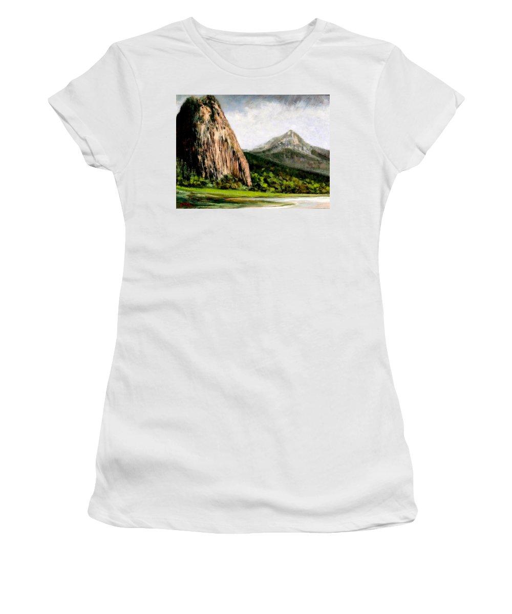 Landscape Women's T-Shirt featuring the painting Beacon Rock Washington by Jim Gola