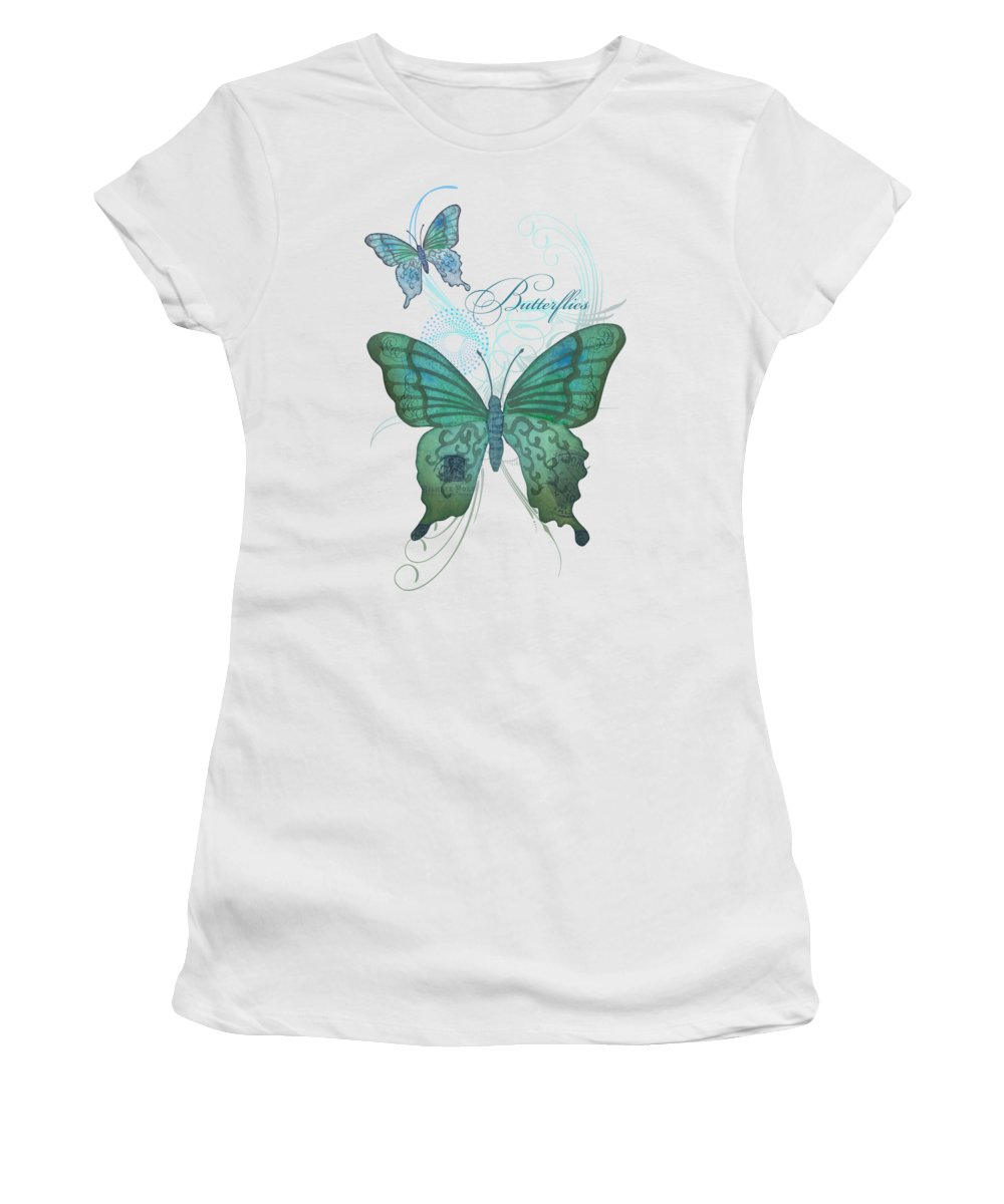 Butterfly Women's T-Shirt featuring the painting Beautiful Butterflies N Swirls Modern Style by Audrey Jeanne Roberts