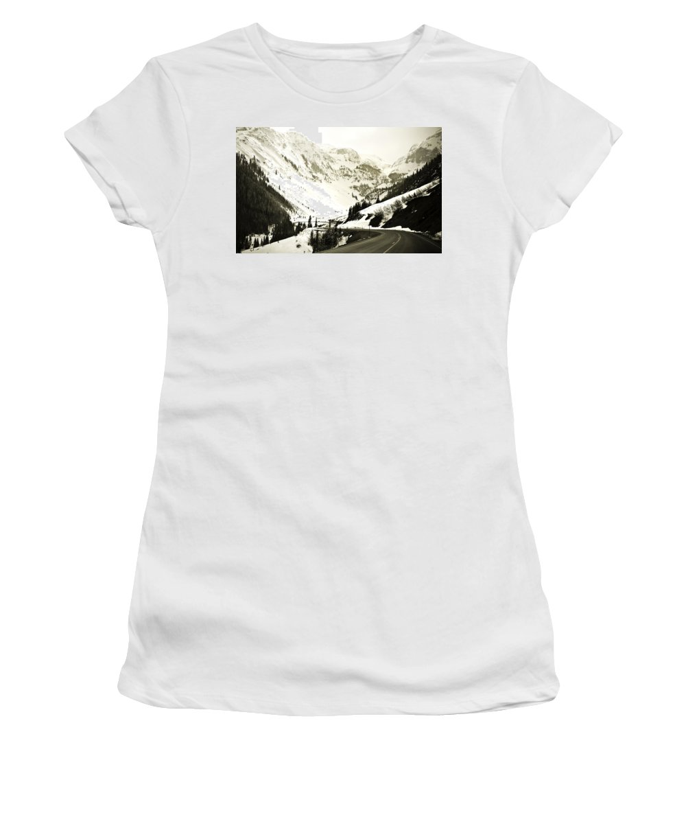 Mountains Women's T-Shirt (Athletic Fit) featuring the photograph Beautiful Curving Drive Through The Mountains by Marilyn Hunt