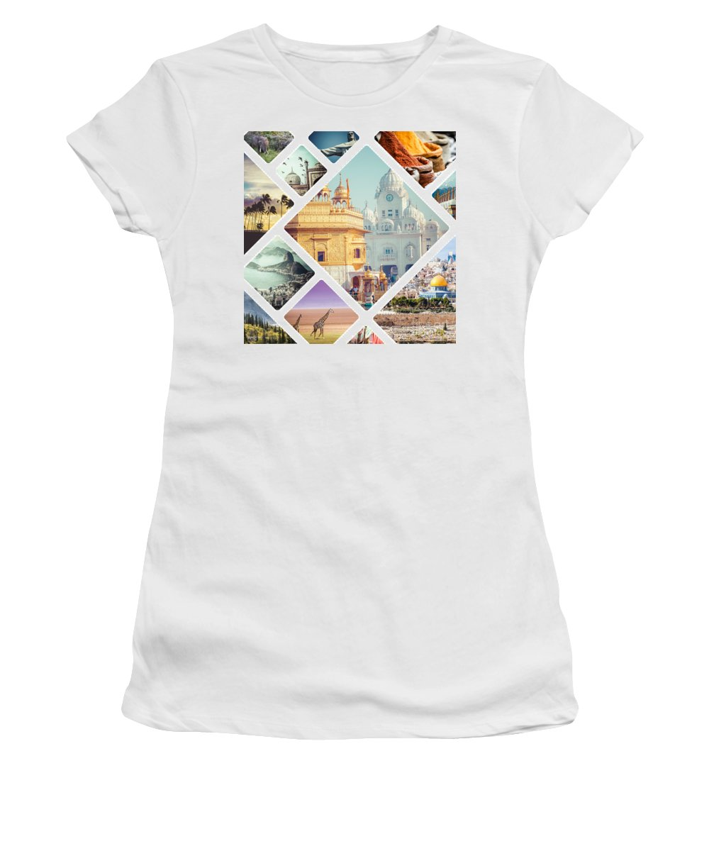 India Women's T-Shirt (Athletic Fit) featuring the photograph Beautiful Vacation Collage by Mariusz Prusaczyk