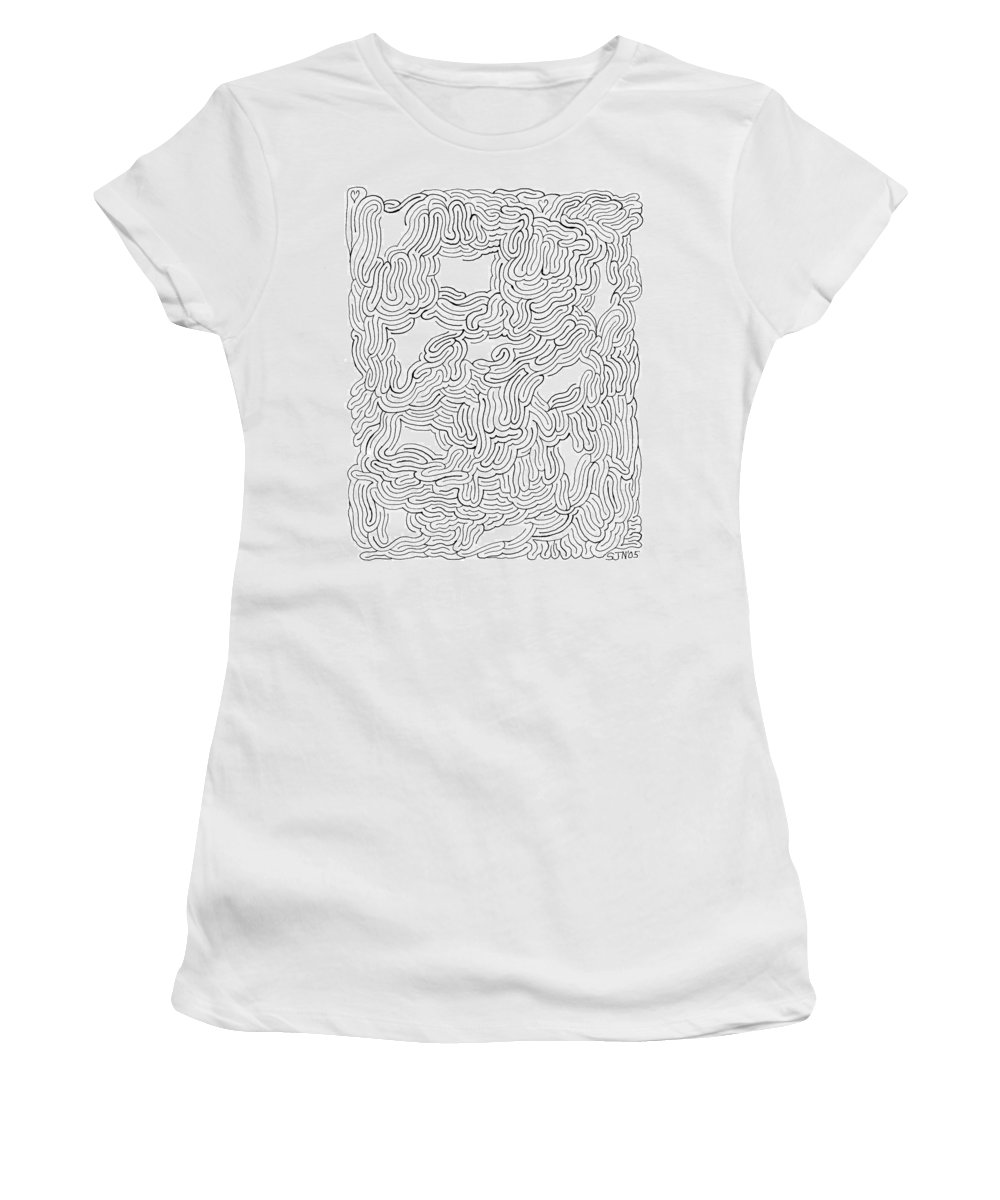 Mazes Women's T-Shirt (Athletic Fit) featuring the drawing Behind Closed Eyes by Steven Natanson