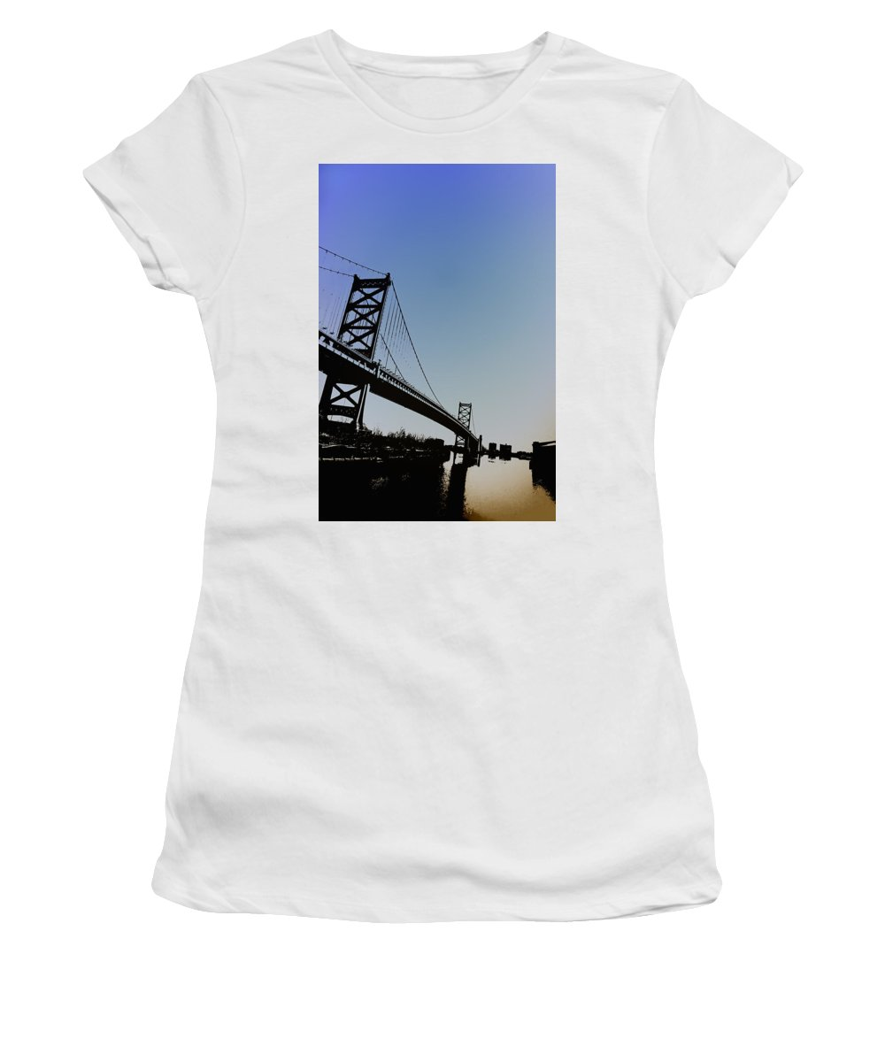 Philadelphia Women's T-Shirt (Athletic Fit) featuring the photograph Ben Franklin Bridge by Bill Cannon
