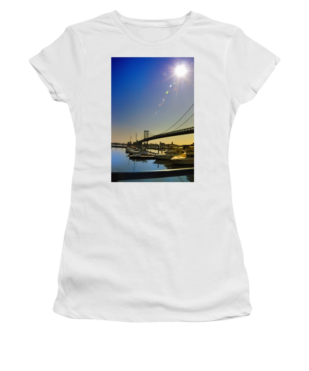 Philadelphia Women's T-Shirt (Athletic Fit) featuring the photograph Ben Franklin Bridge From The Marina by Bill Cannon