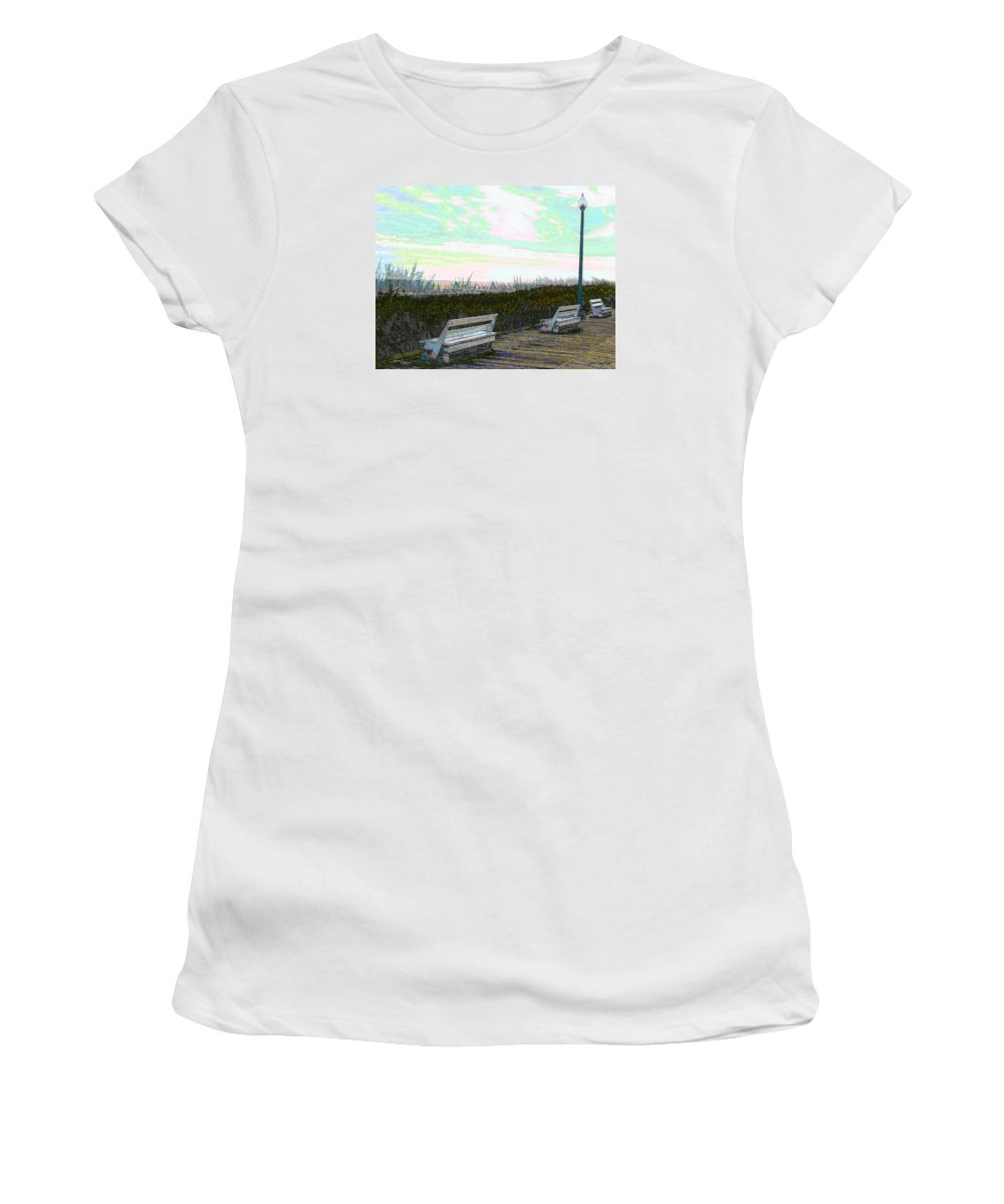 Cyan Women's T-Shirt featuring the photograph Benches Boardwalk And Lampposts 2 by Jeffrey Todd Moore