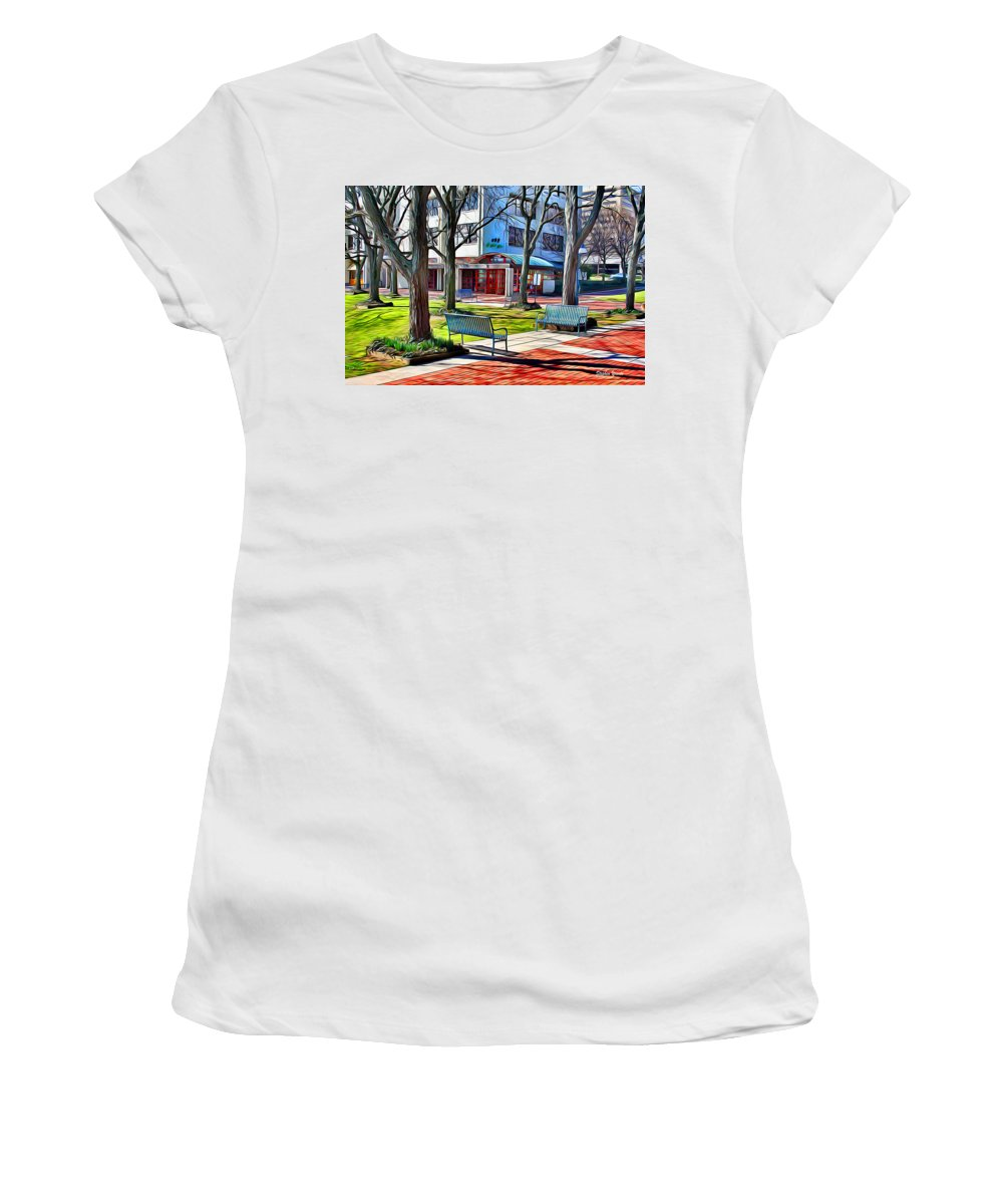 Howard County Women's T-Shirt (Athletic Fit) featuring the digital art Benches by Stephen Younts