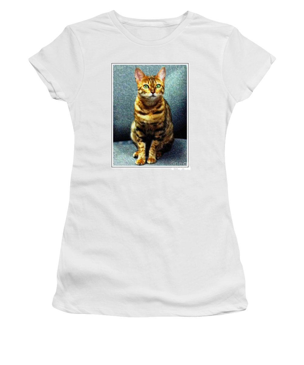 Bengal Cat Digital Oil Pastel Women's T-Shirt featuring the photograph Bengal Cat Digital Oil Pastel by Barbara Griffin