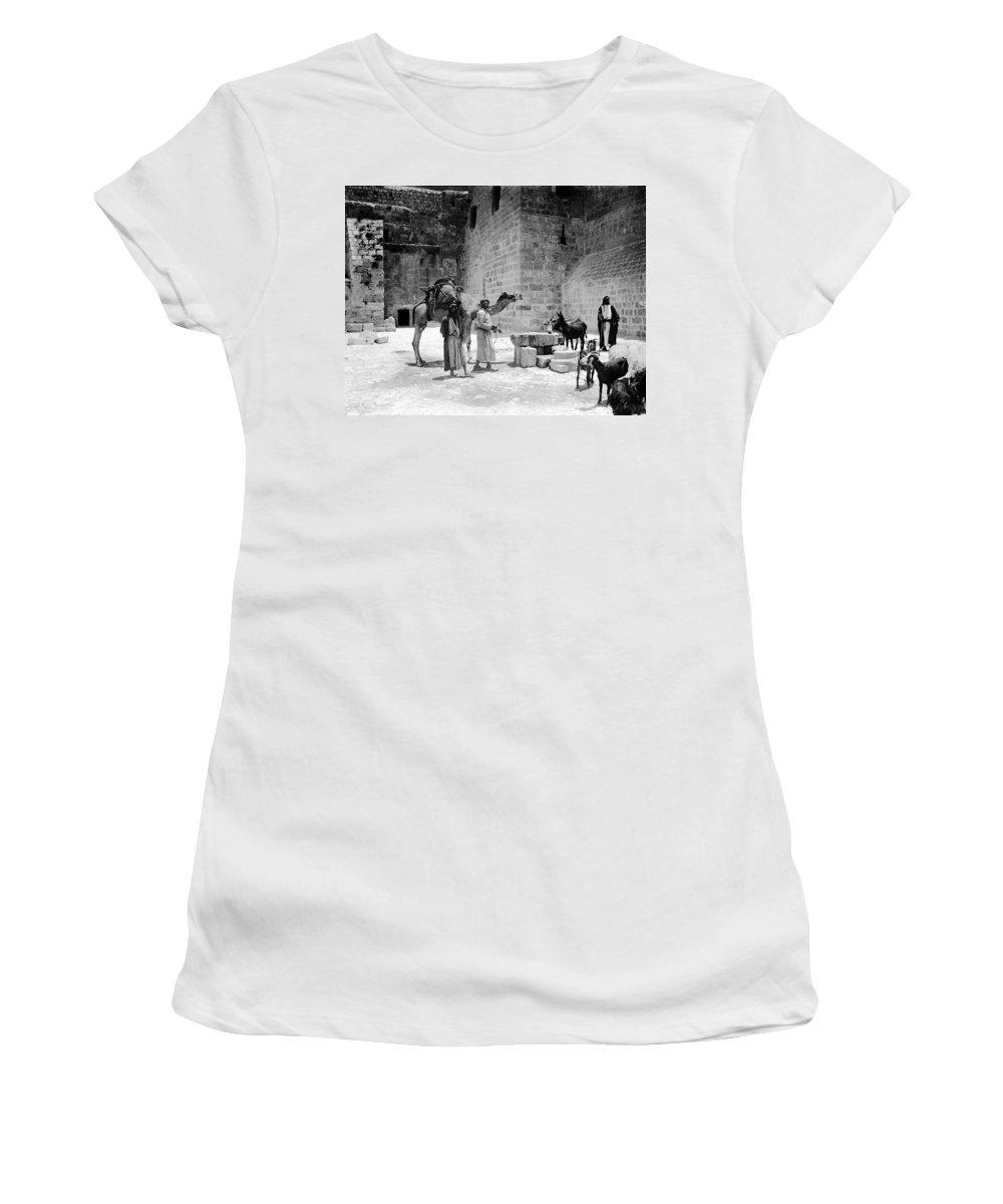 Bethlehem Women's T-Shirt (Athletic Fit) featuring the photograph Bethlehem - Nativity Church 1920s by Munir Alawi