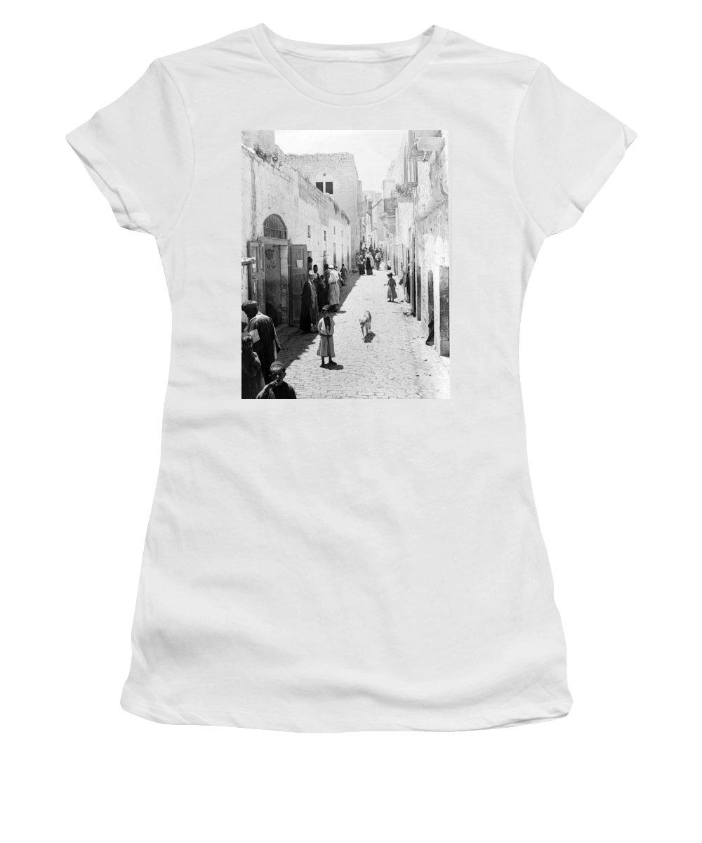 Bethlehem Women's T-Shirt (Athletic Fit) featuring the photograph Bethlehem The Main Street 1800s by Munir Alawi