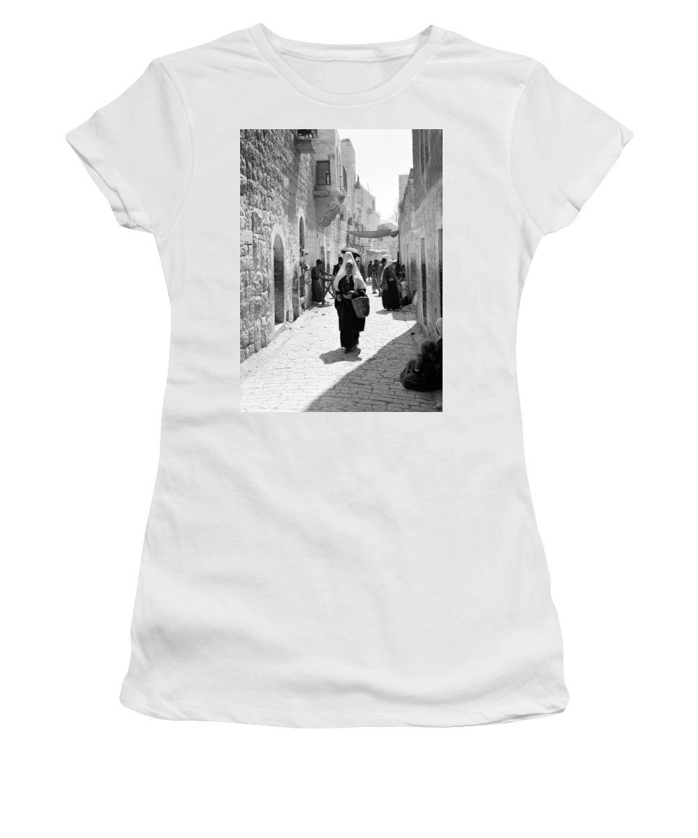 Bethlehem Women's T-Shirt (Athletic Fit) featuring the photograph Bethlehemite Going To The Market by Munir Alawi