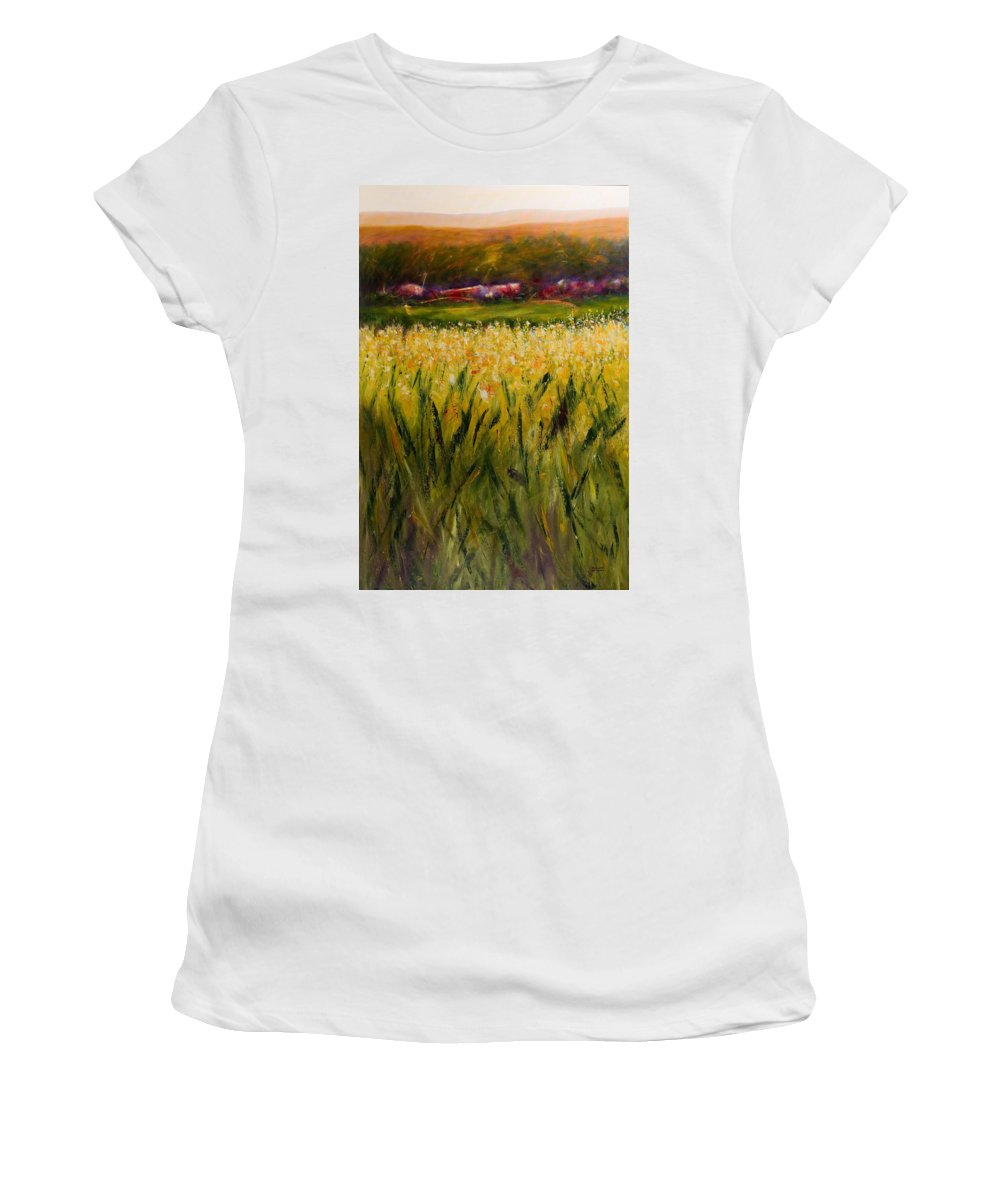 Landscape Women's T-Shirt (Athletic Fit) featuring the painting Beyond The Valley by Shannon Grissom