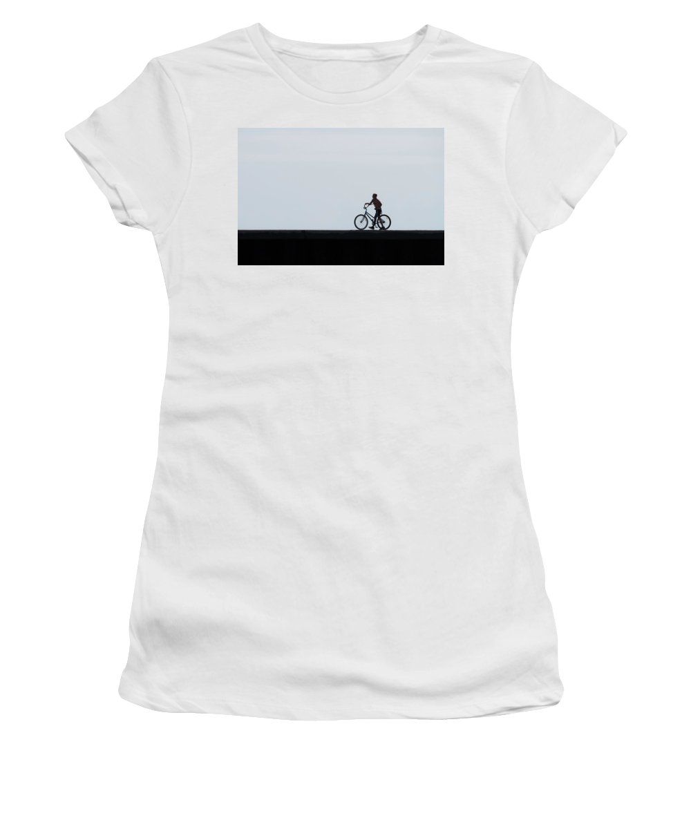 Folly Beach Women's T-Shirt (Athletic Fit) featuring the photograph Bicyclist On The Groin by David Ramage