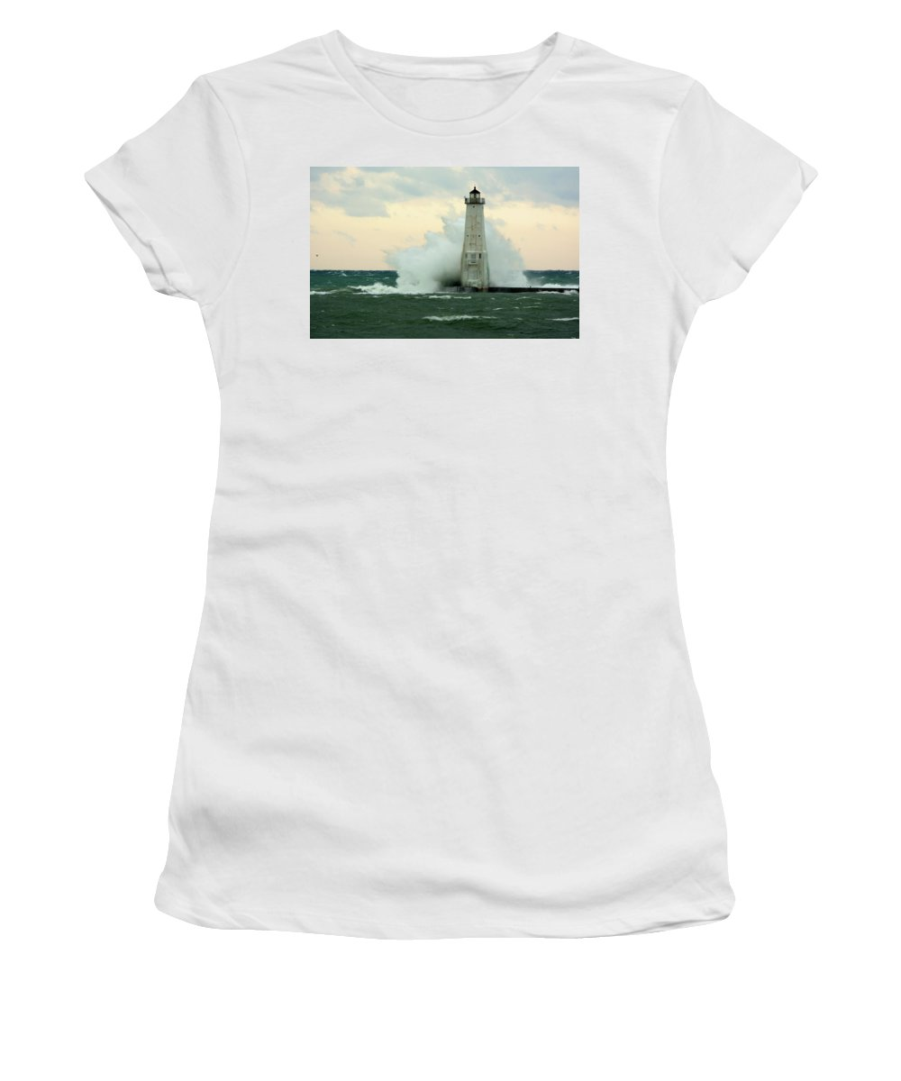 Great Lake Women's T-Shirt (Athletic Fit) featuring the photograph Big Impact by Linda Kerkau