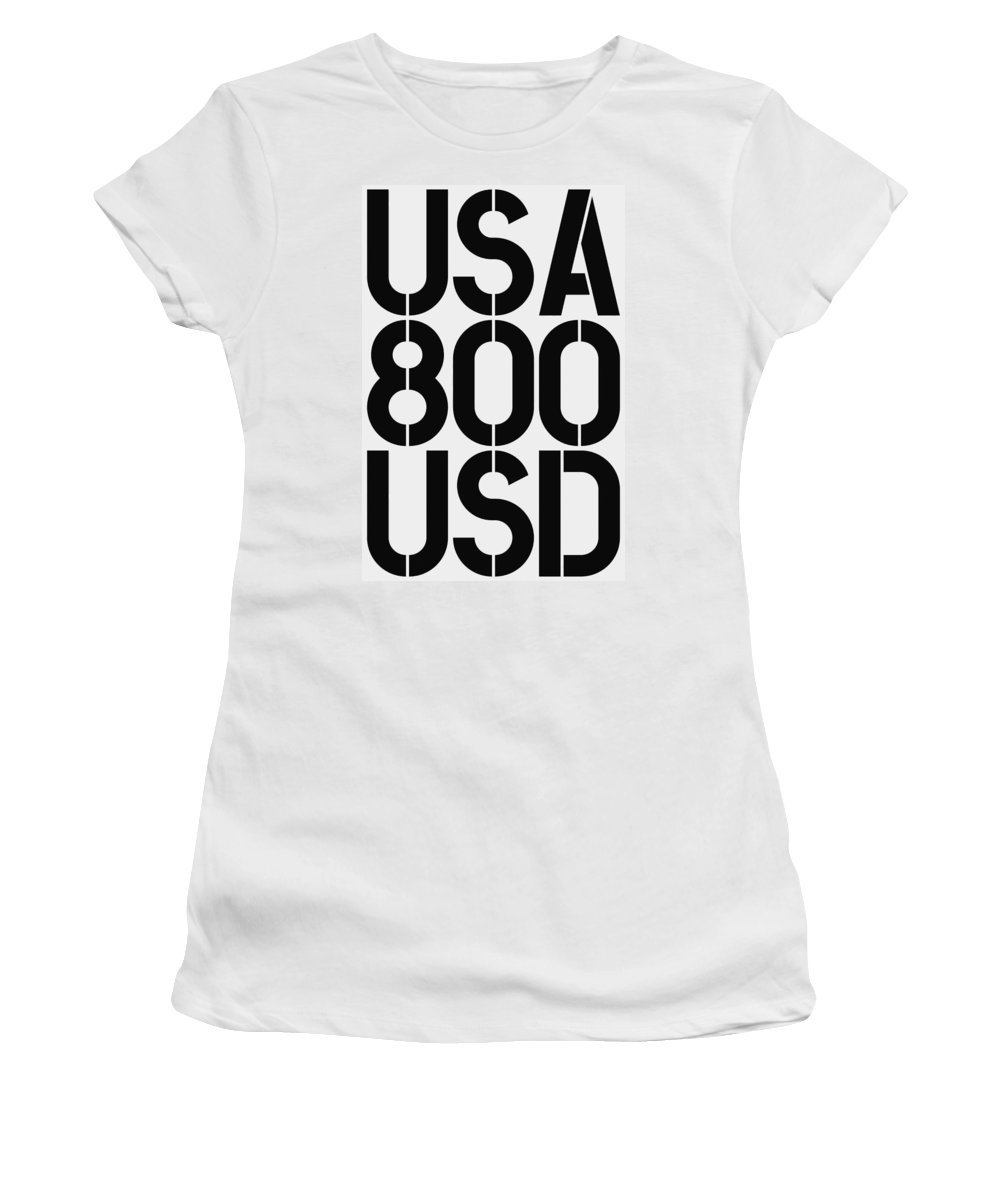 Big Women's T-Shirt (Athletic Fit) featuring the painting Big Money 800 Usd by Three Dots