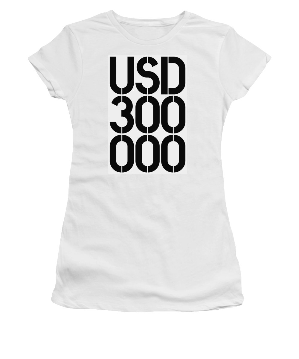 Big Women's T-Shirt (Athletic Fit) featuring the painting Big Money Usd 300 000 by Three Dots