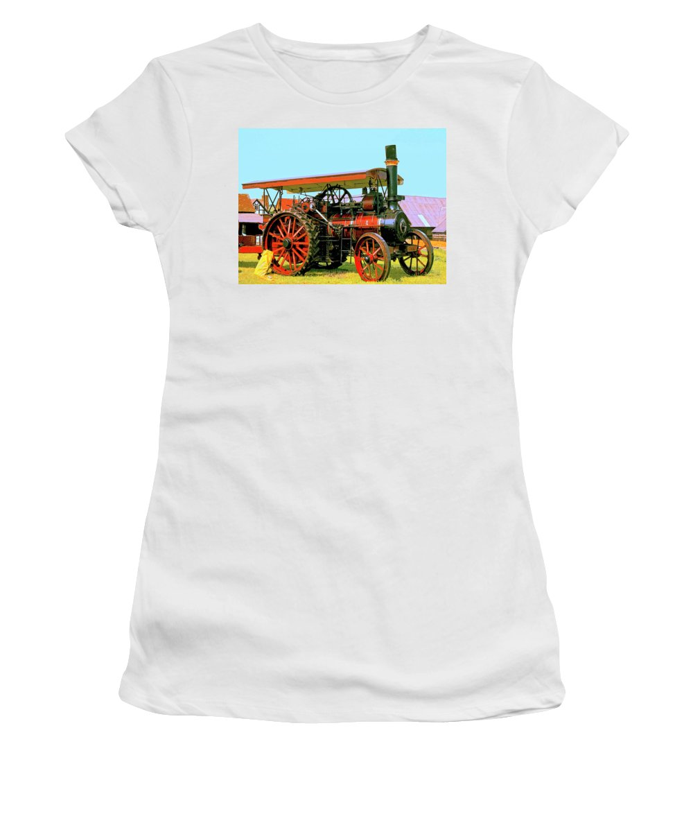 Big Steamer Women's T-Shirt (Athletic Fit) featuring the mixed media Big Steamer by Dominic Piperata