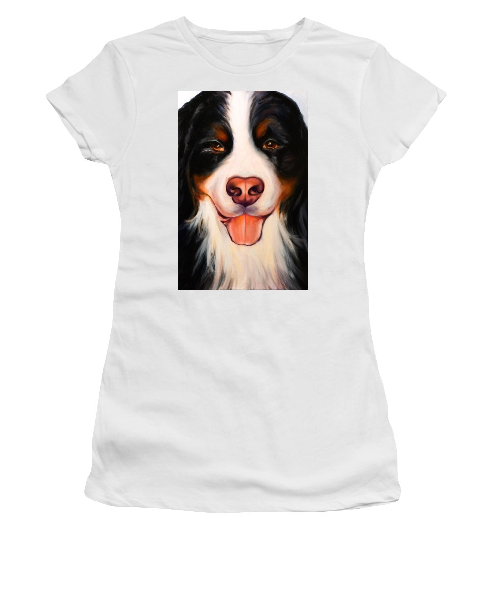 Dog Women's T-Shirt (Junior Cut) featuring the painting Big Willie by Shannon Grissom
