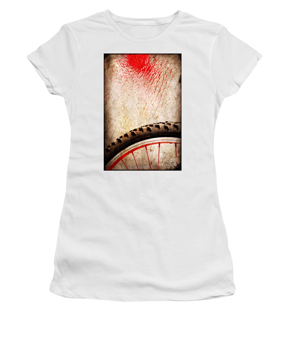 Abstract Women's T-Shirt (Athletic Fit) featuring the photograph Bike Wheel Red Spray by Silvia Ganora