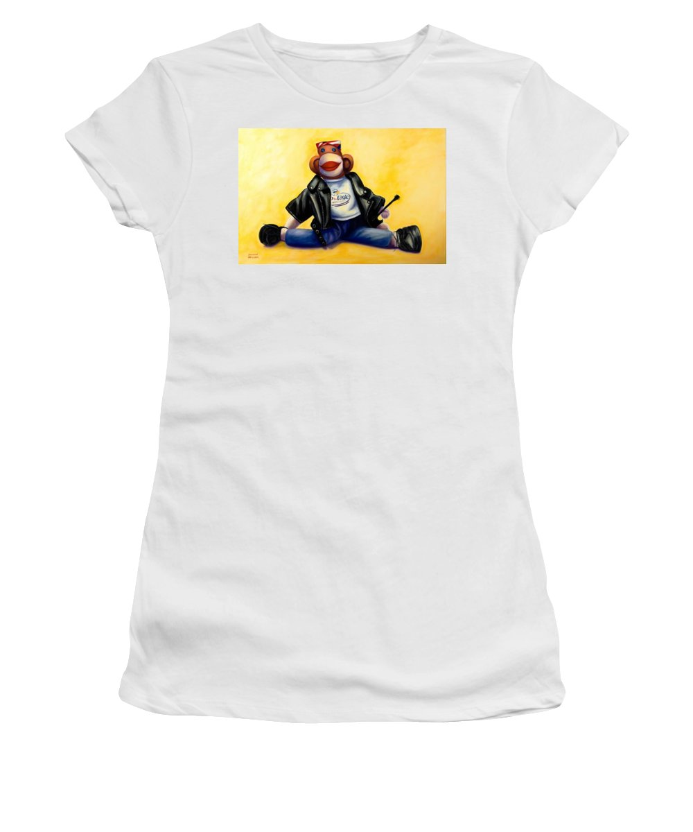 Sock Monkey Brown Women's T-Shirt (Athletic Fit) featuring the painting Biker Dude Made Of Sockies by Shannon Grissom