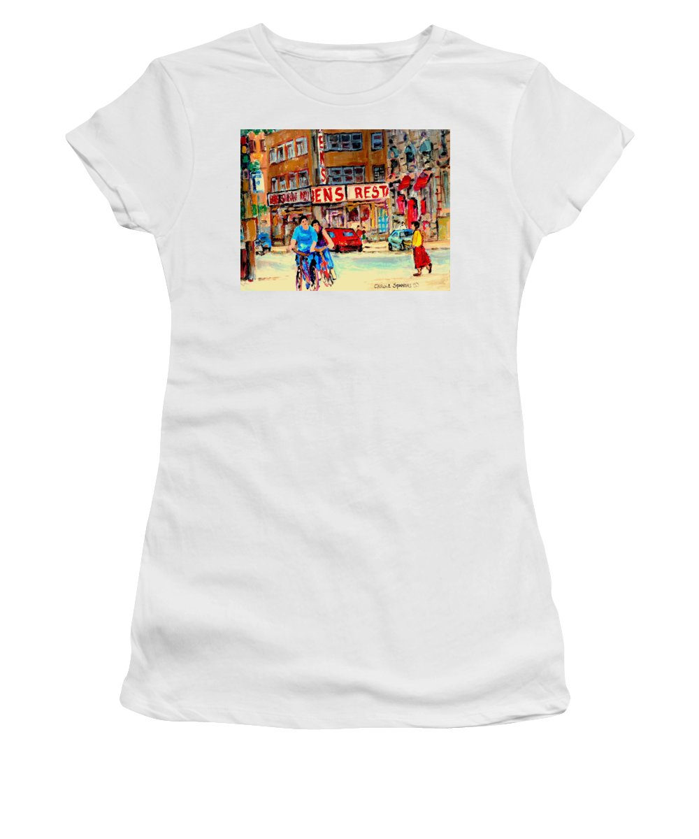 Montreal Women's T-Shirt (Athletic Fit) featuring the painting Biking Past Ben by Carole Spandau