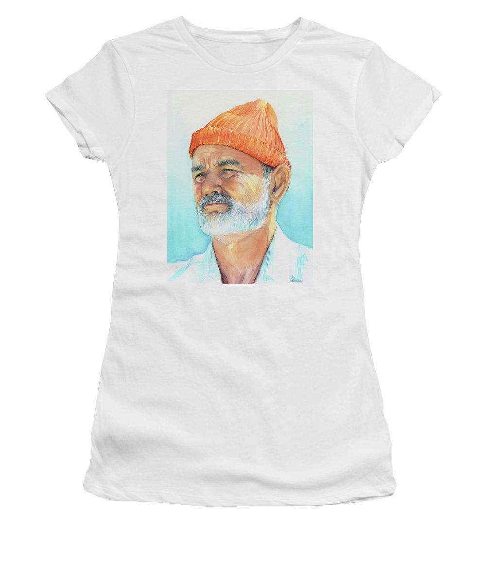 Bill Murray Women's T-Shirt featuring the painting Bill Murray Steve Zissou Life Aquatic by Olga Shvartsur