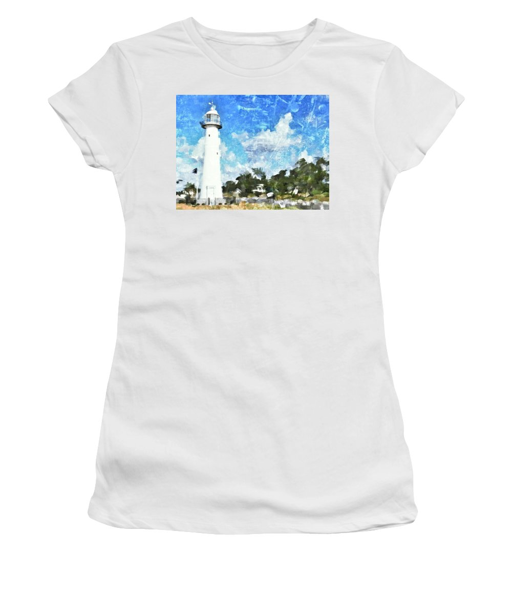 Lighthouse Women's T-Shirt featuring the photograph Biloxi Lighthouse by Scott Crump