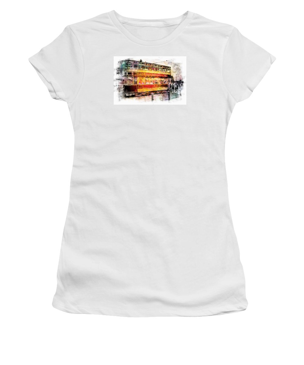 Beamish Women's T-Shirt featuring the digital art Binns Tram 8 by John Lynch