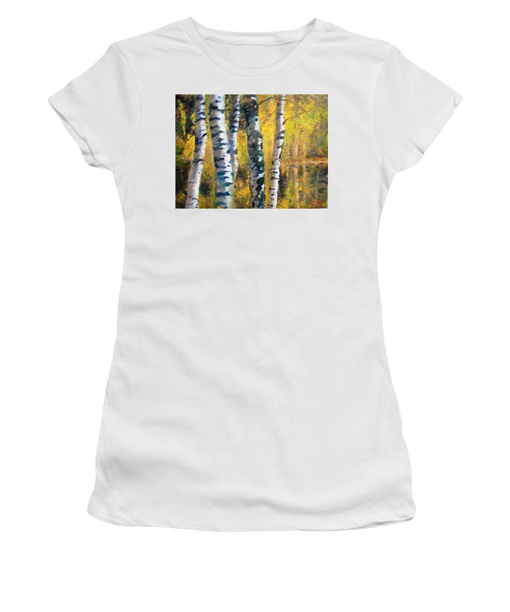 Landscape Women's T-Shirt (Athletic Fit) featuring the painting Birch Trees In Golden Fall by Ylli Haruni