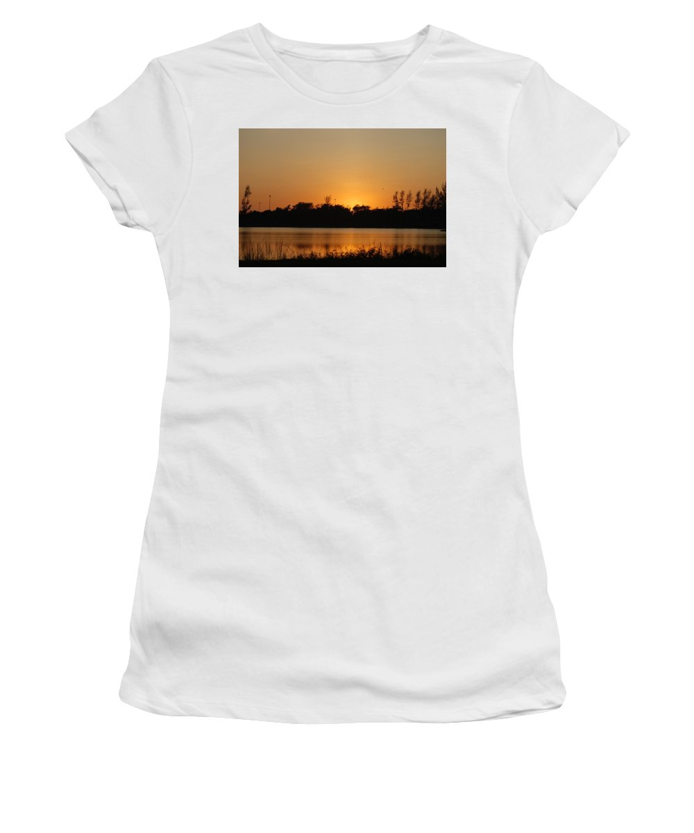 Nature Women's T-Shirt (Athletic Fit) featuring the photograph Bird In The Sunset by Rob Hans