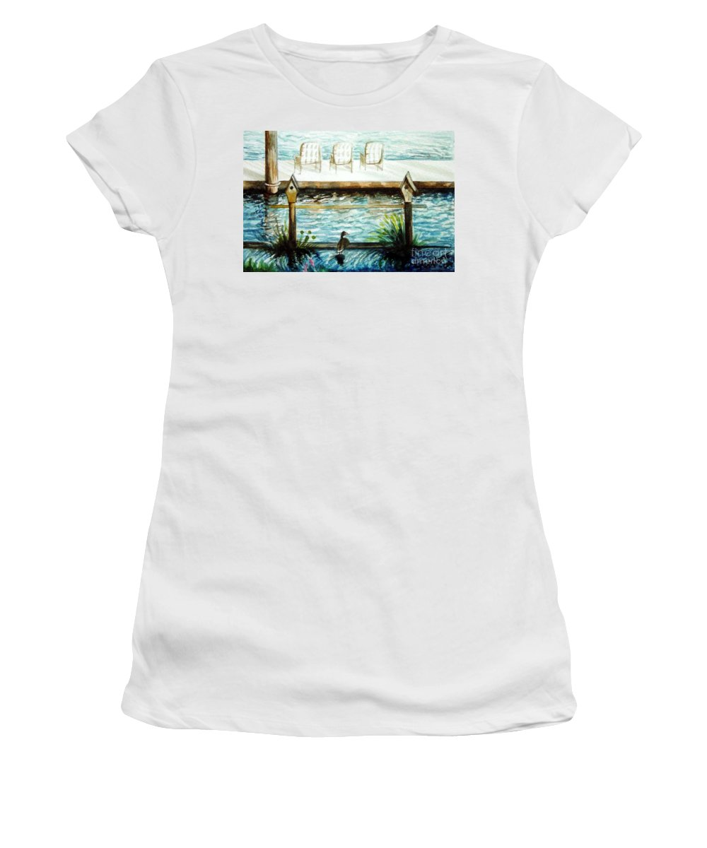 Birdhouse Women's T-Shirt (Athletic Fit) featuring the painting Birdhouse Haven by Elizabeth Robinette Tyndall