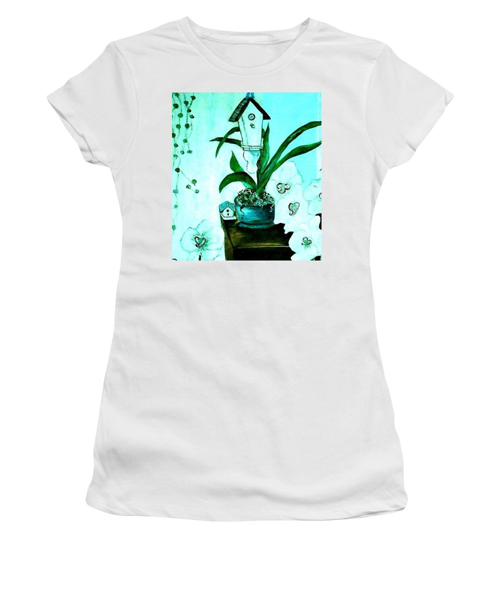 Orchid Women's T-Shirt featuring the painting Birdhouse Orchid Garden by Kathleen W Jones