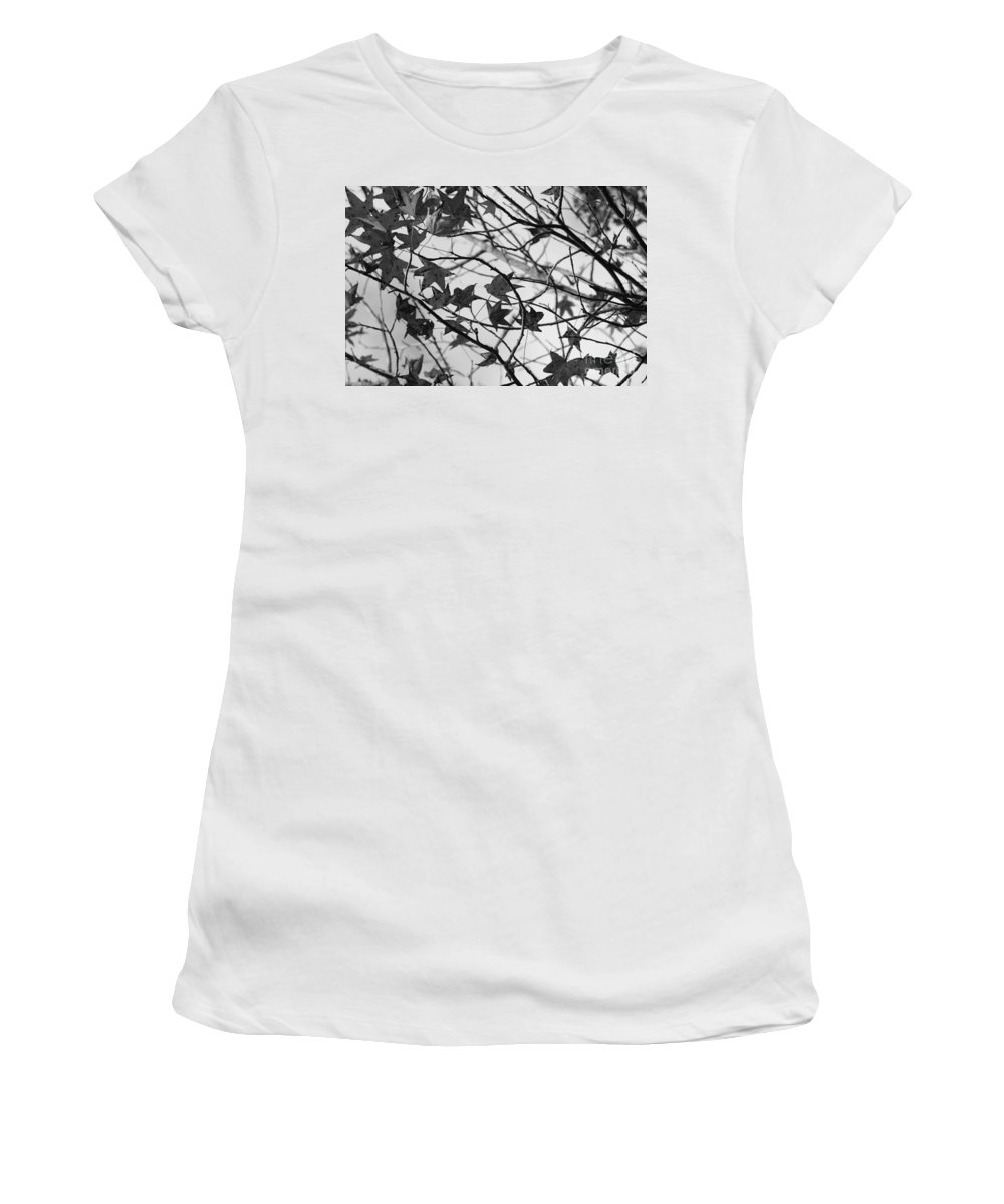 Leaves Women's T-Shirt (Athletic Fit) featuring the photograph Black And White Leaves by Carol Groenen