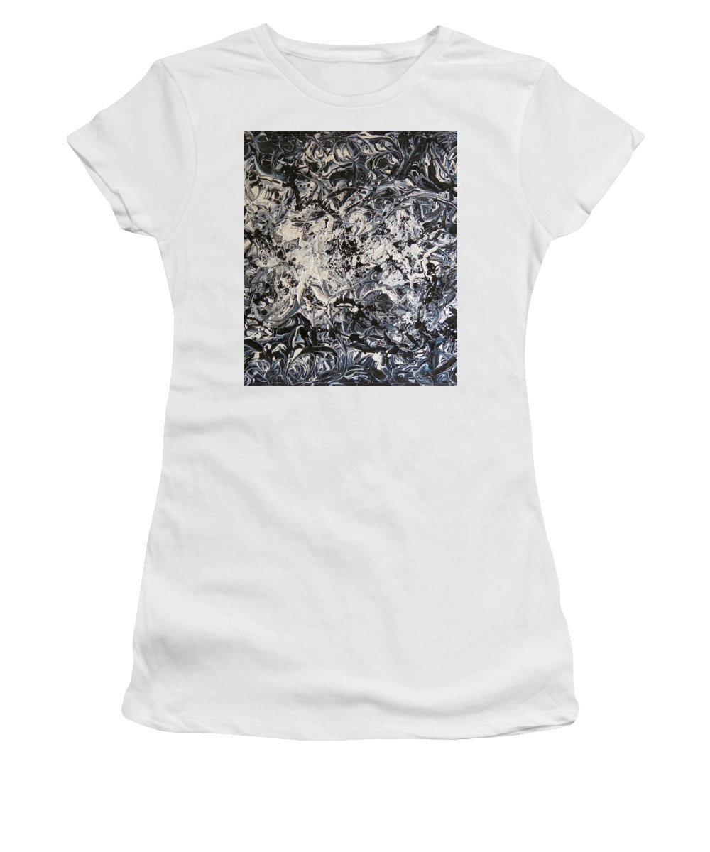 #artist #art #abstract #painting #textured #paints #rahat #beautiful #insta #dailyart #love #life #instamood #follow #amazing #world #pics #india #black #white @acrylic #knife #knifework Women's T-Shirt (Athletic Fit) featuring the painting Black And White by Rahat Kazmi