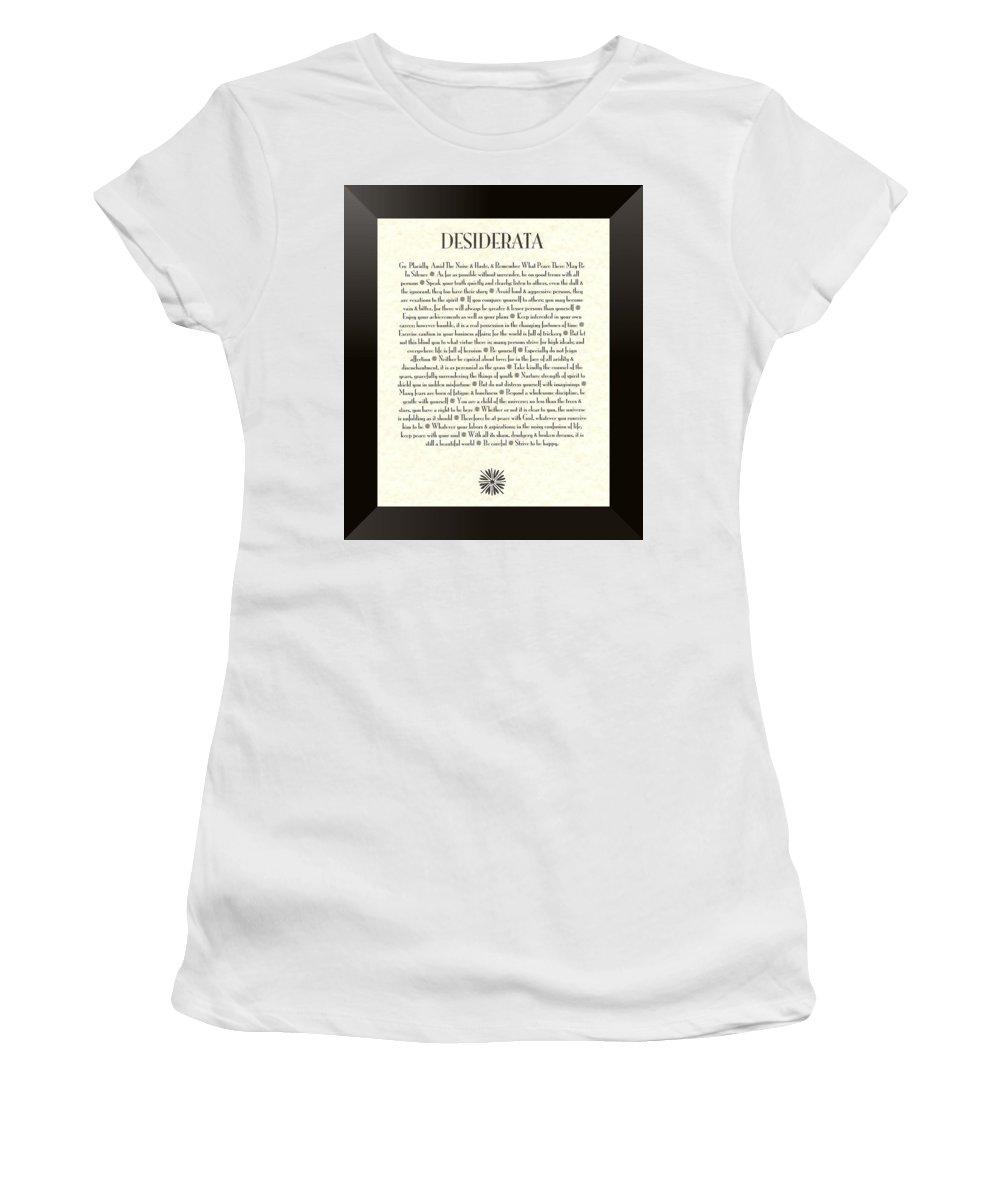 Desiderata Women's T-Shirt featuring the mixed media Black Border Sunburst Desiderata Poem by Desiderata Gallery