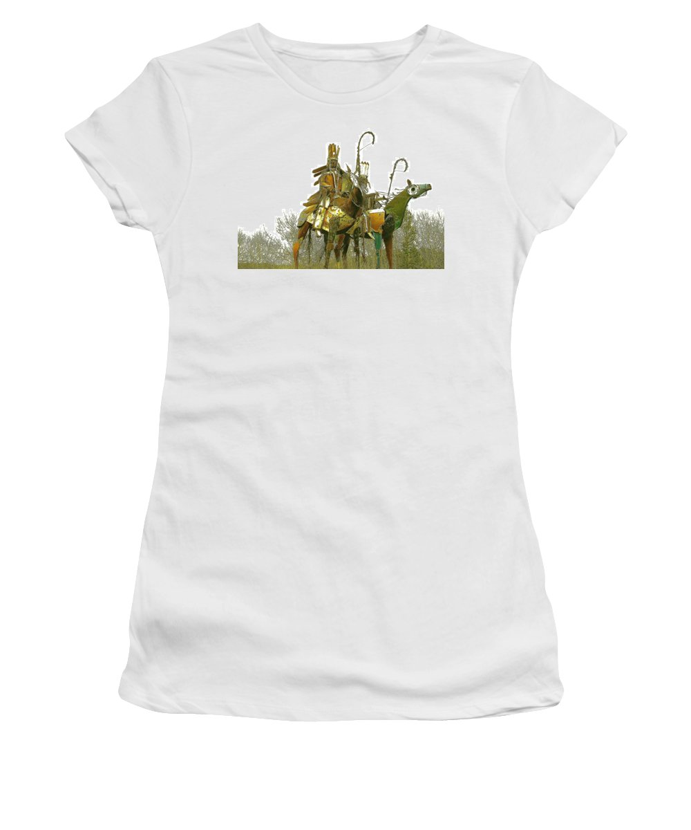 Native American Women's T-Shirt (Athletic Fit) featuring the photograph Blackfeet Wariors by Nelson Strong
