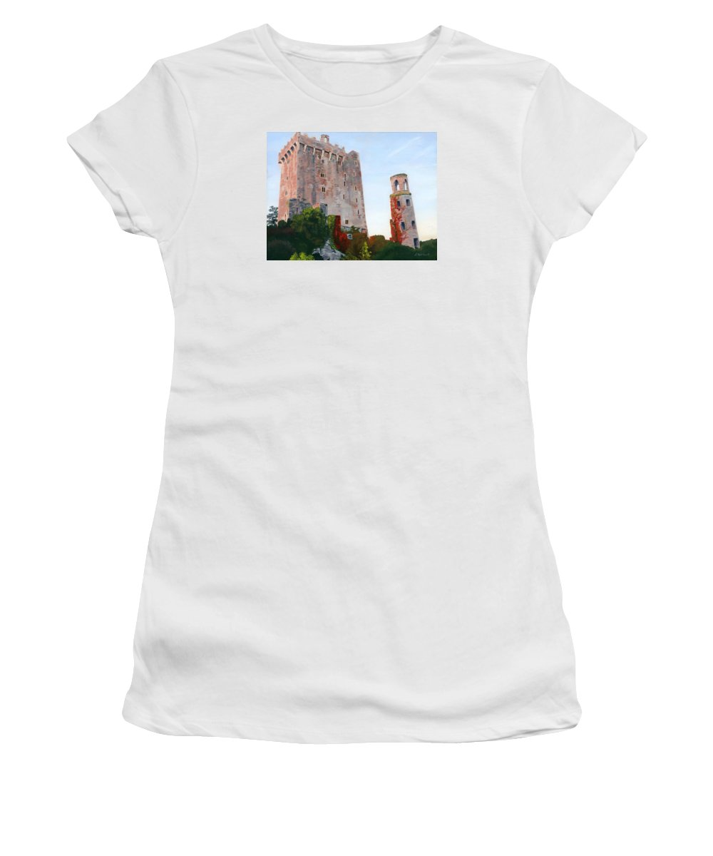 Ireland Women's T-Shirt featuring the painting Blarney Castle by Lynne Reichhart