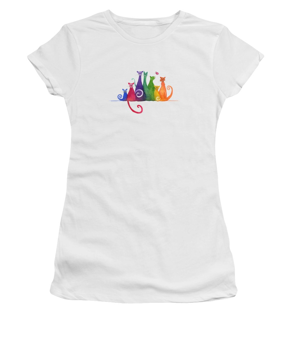 Blended Family Women's T-Shirt featuring the painting Blended Family Of Seven by Amy Kirkpatrick