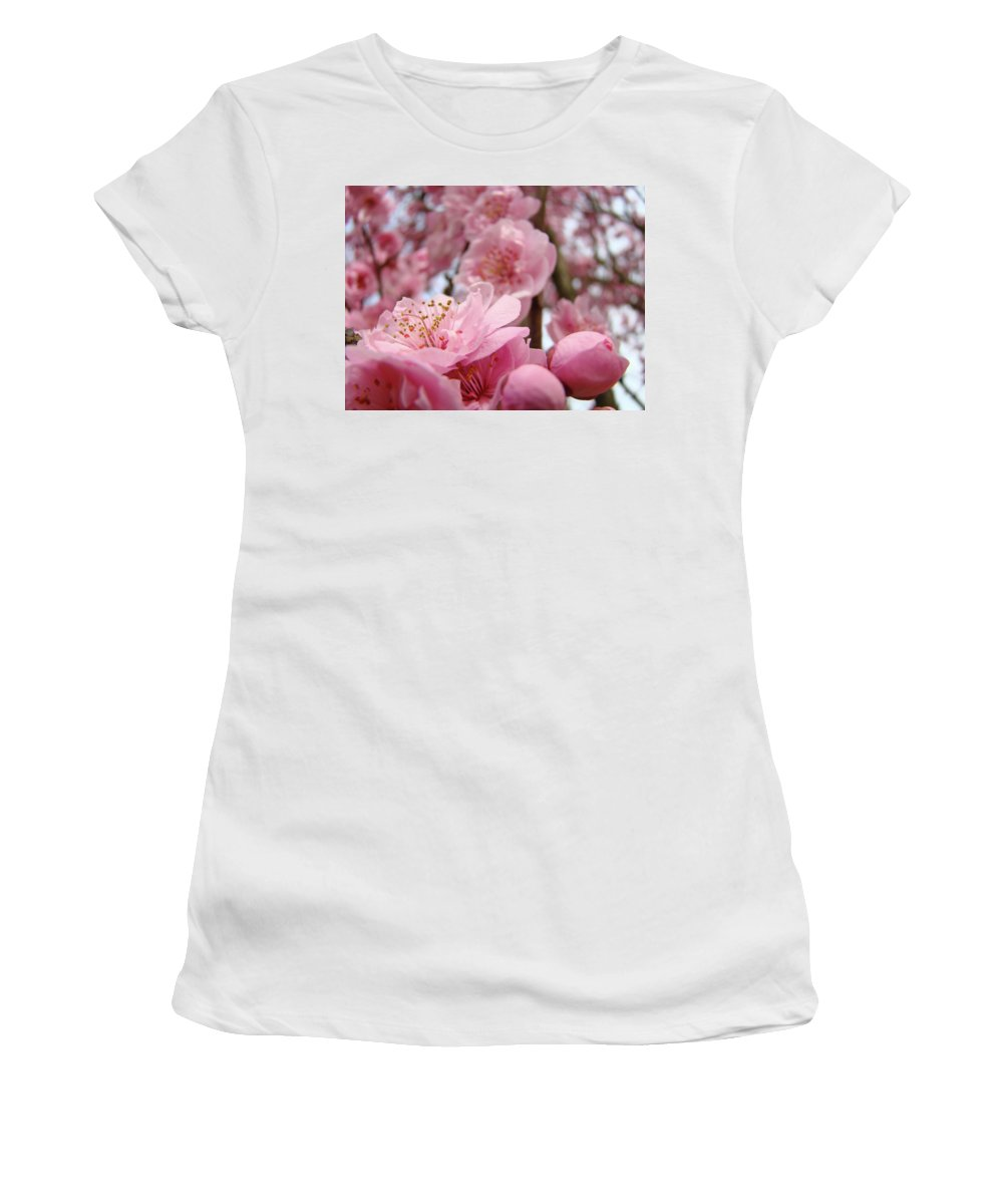 Blossom Women's T-Shirt (Athletic Fit) featuring the photograph Blossoms Art Print Pink Spring Blossom Baslee Troutman by Baslee Troutman