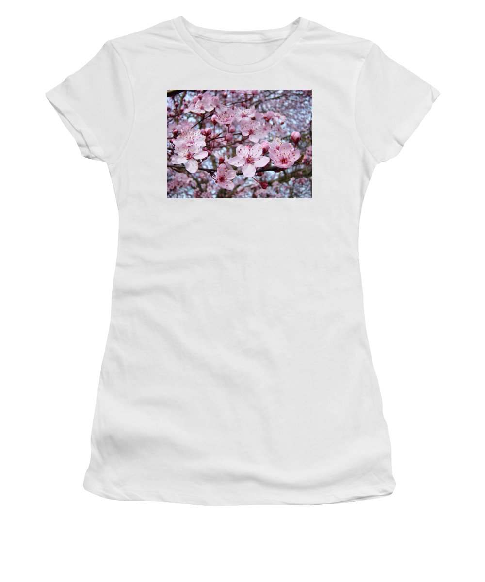 Blossom Women's T-Shirt (Athletic Fit) featuring the photograph Blossoms Art Prints Nature Pink Tree Blossoms Baslee Troutman by Baslee Troutman