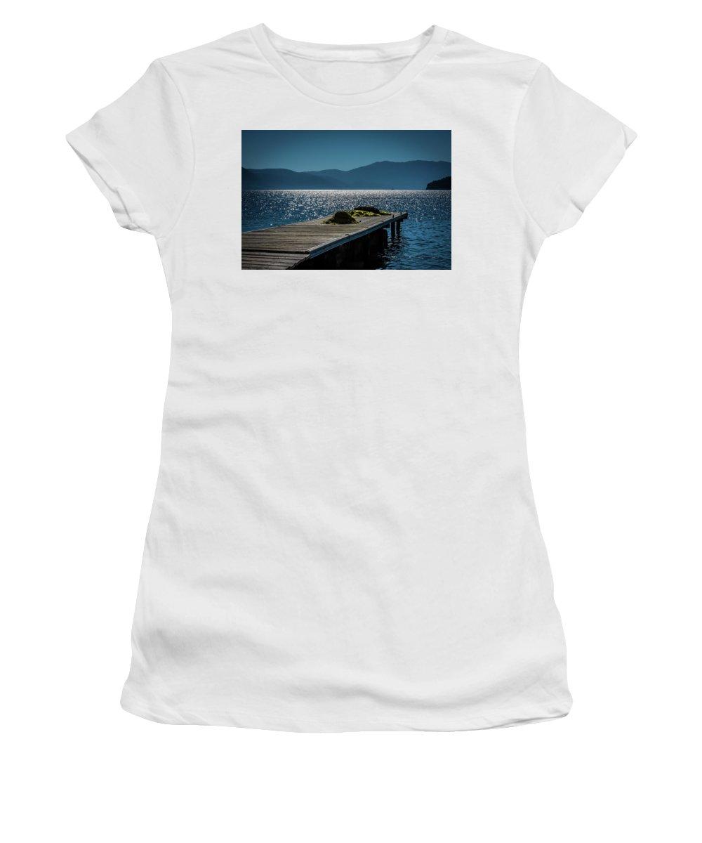 Seascape. Pier. Blue Sea. Women's T-Shirt featuring the photograph Blue 2 by Yau Ming Low