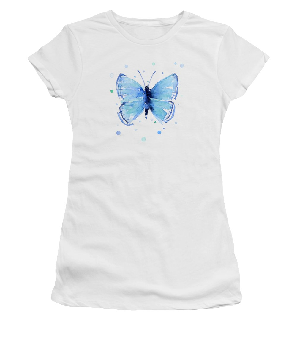 Watercolor Women's T-Shirt featuring the painting Blue Abstract Butterfly by Olga Shvartsur