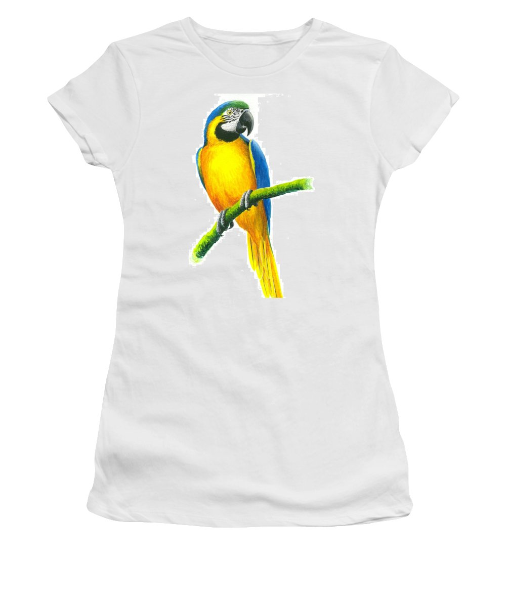 Chris Cox Women's T-Shirt (Athletic Fit) featuring the painting Blue And Gold Macaw by Christopher Cox
