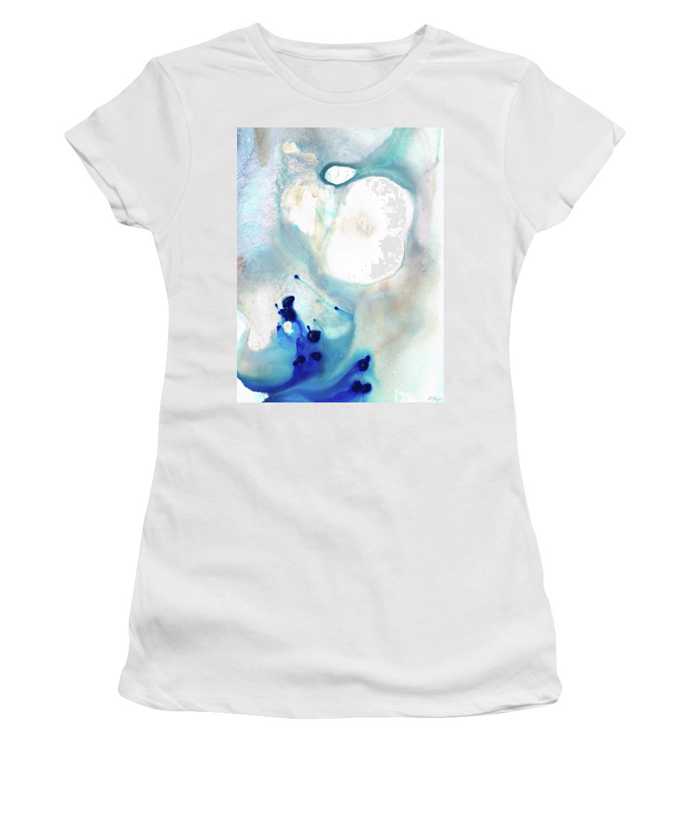 Blue Women's T-Shirt (Athletic Fit) featuring the painting Blue And White Art - A Short Wave - Sharon Cummings by Sharon Cummings