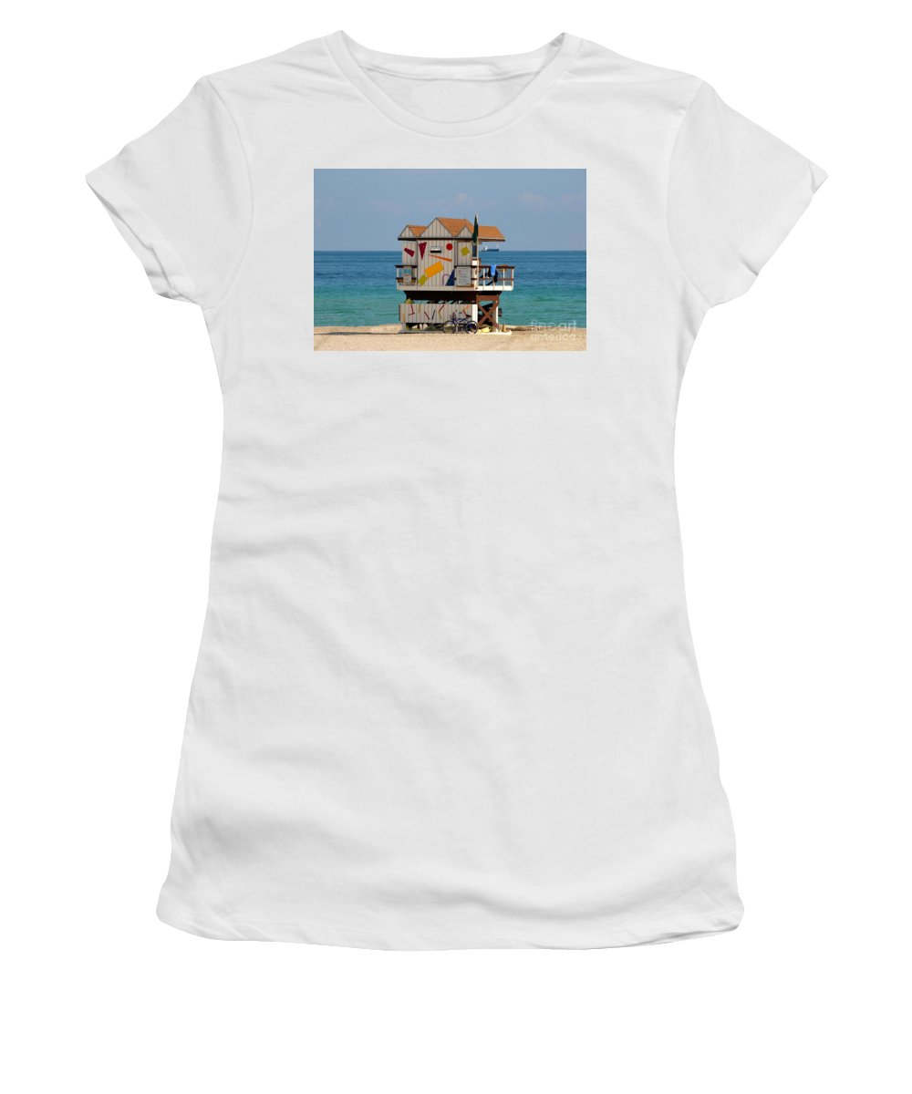 Miami Beach Women's T-Shirt (Athletic Fit) featuring the photograph Blue Bicycle by David Lee Thompson