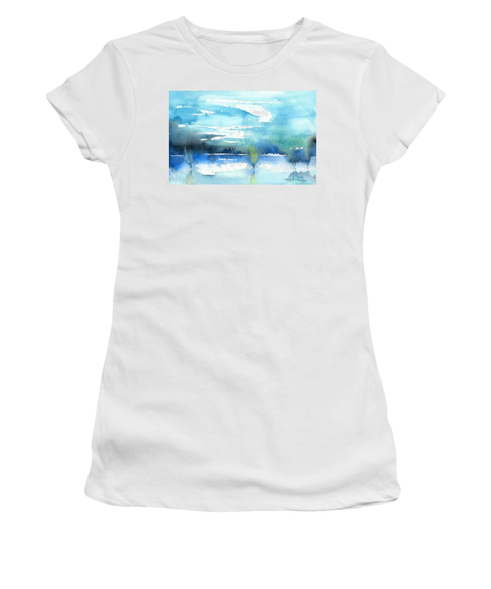 Impressionism Women's T-Shirt featuring the painting Blue Blue The World Is Blue by Miki De Goodaboom