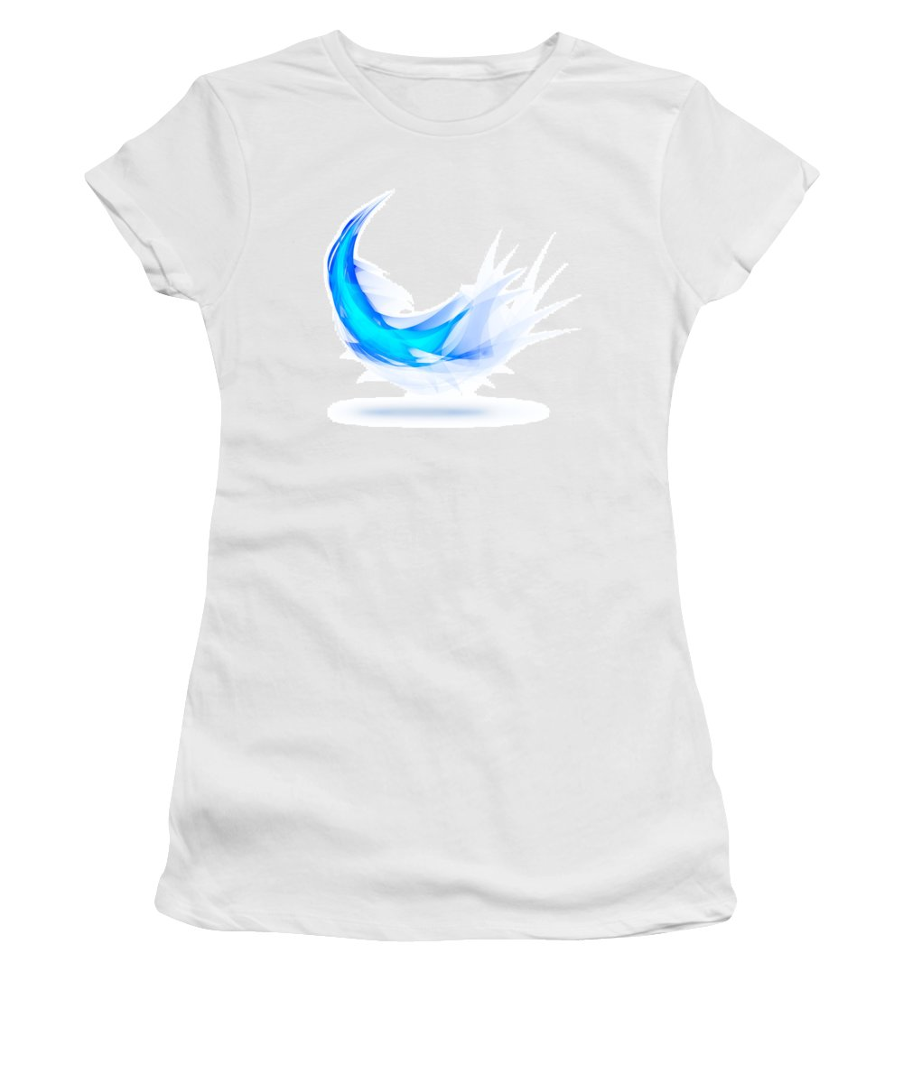 Abstract Women's T-Shirt featuring the painting Blue Feather by Setsiri Silapasuwanchai