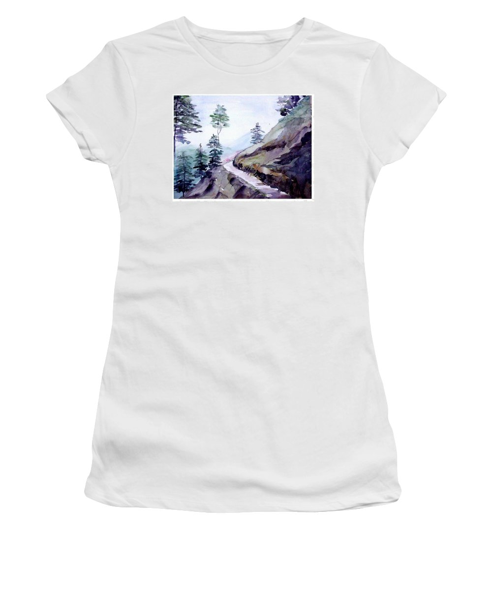 Landscape Women's T-Shirt (Athletic Fit) featuring the painting Blue Hills by Anil Nene