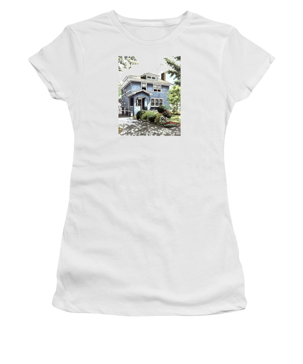 House Women's T-Shirt featuring the drawing Blue House by Mary Palmer