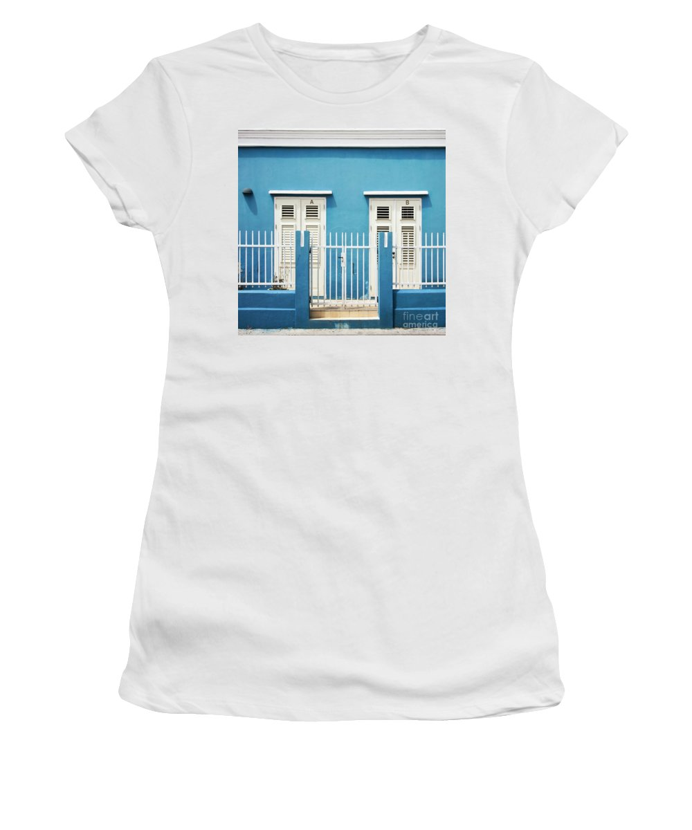 Blue Women's T-Shirt (Athletic Fit) featuring the photograph Blue Curacao House by Zena Zero