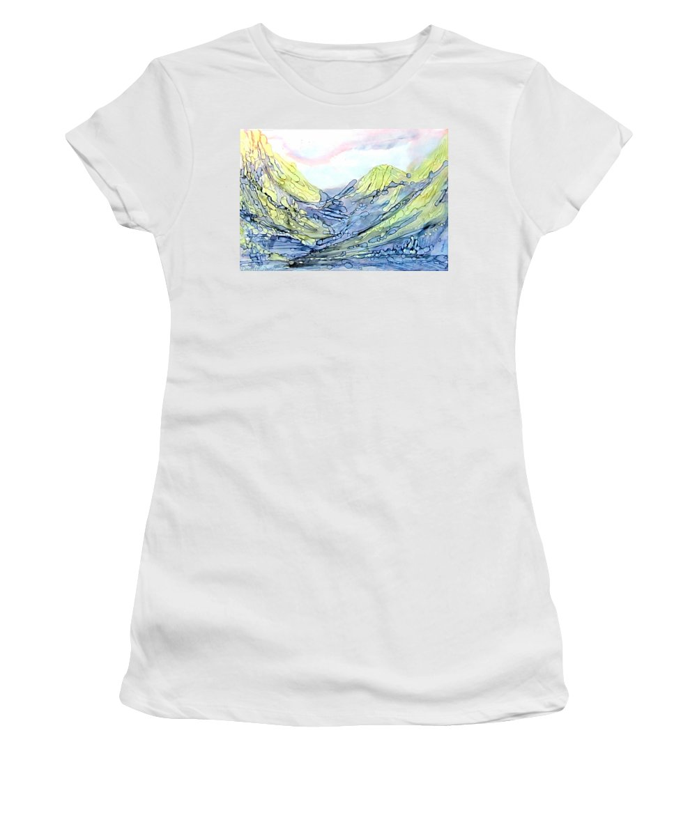 Danielle Parent Women's T-Shirt (Athletic Fit) featuring the painting Blue Mountains Alcohol Inks by Danielle Parent