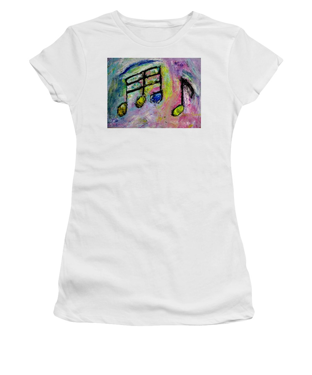 Impressionist Women's T-Shirt (Athletic Fit) featuring the painting Blue Note by Anita Burgermeister